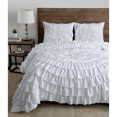 Cortlandt 3 Piece Comforter Set Size: King, Color: White