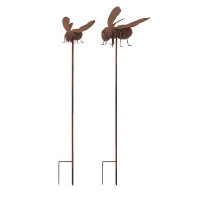 Pearcy 2 Piece Bee Garden Stake Set