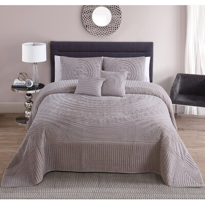 Eloise 5 Piece King Comforter Set Color: Taupe