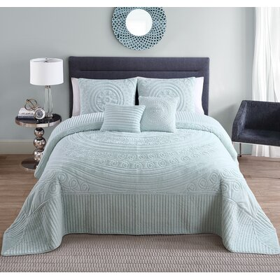 Eloise 5 Piece Queen Bed in a Bag Set Color: Blue