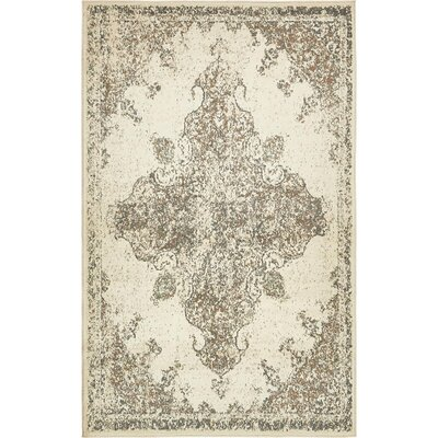 Forcalquier Cream Synthetic Indoor Area Rug Rug Size: 5 x 8