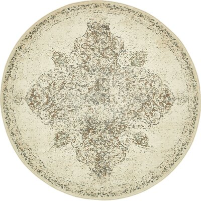 Forcalquier Cream Synthetic Indoor Area Rug Rug Size: Round 8