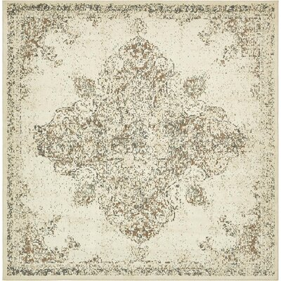 Forcalquier Cream Synthetic Indoor Area Rug Rug Size: Square 8