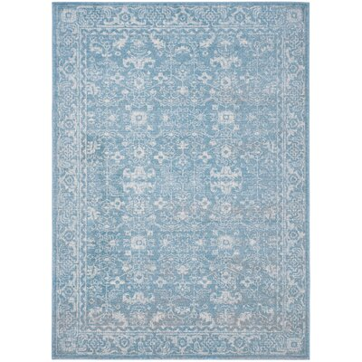 Melia Light Blue/Ivory Area Rug Rug Size: Square 51