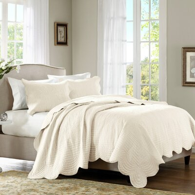 Carennac 3 Piece Coverlet Set Size: Full / Queen, Color: Ivory