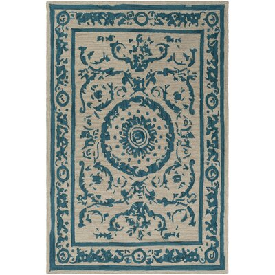 Clermont Hand-Tufted Teal/Tan Area Rug Rug Size: Rectangle 2 x 3