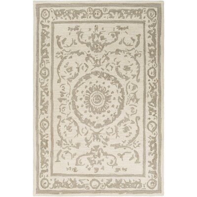 Clermont Hand-Tufted Taupe/Cream Area Rug Rug Size: 5 x 76