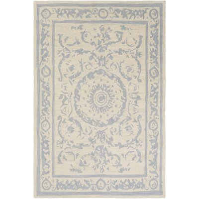 Clermont Hand-Tufted Medium Gray/Cream Area Rug Rug Size: 2 x 3