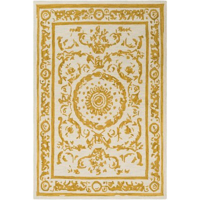 Clermont Hand-Tufted Mustard/Cream Area Rug Rug Size: Rectangle 2 x 3