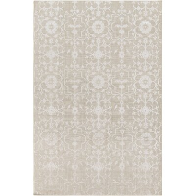 Poirier Hand-Knotted Khaki/White Area Rug Rug Size: Rectangle 9 x 13