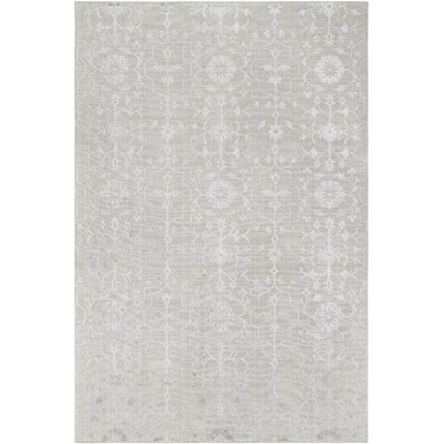 Poirier Hand-Knotted Light Gray Area Rug Rug Size: Rectangle 6 x 9