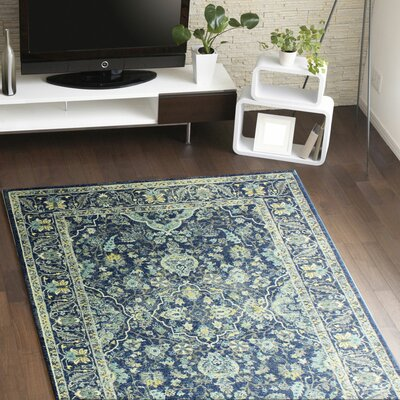 Pecoraro Dark Blue Area Rug Rug Size: 77 x 97