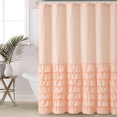Peeples Ruffle Shower Curtain Color: Light Pink