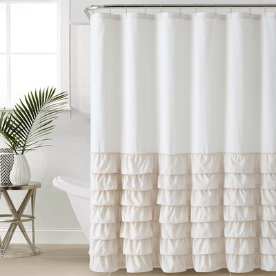Peeples Ruffle Shower Curtain Color: Taupe