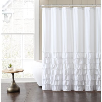Peeples Ruffle Shower Curtain Color: White