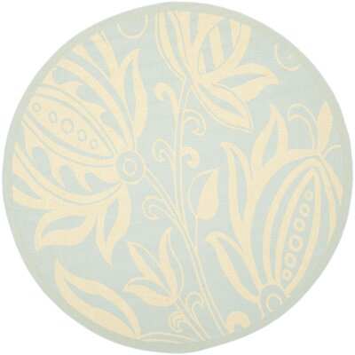 Laurel Aqua/Cream Indoor/Outdoor Area Rug Rug Size: Round 67