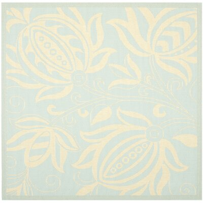 Laurel Aqua/Cream Indoor/Outdoor Area Rug Rug Size: Square 67