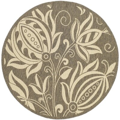 Marcella Brown & Natural Outdoor Area Rug Rug Size: Round 53