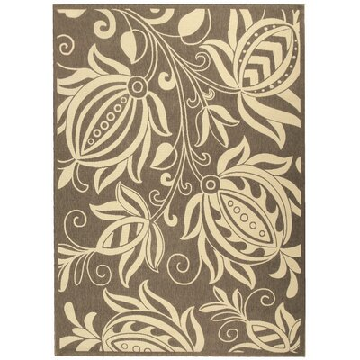 Anglet Brown & Natural Outdoor Area Rug Rug Size: 92 x 126