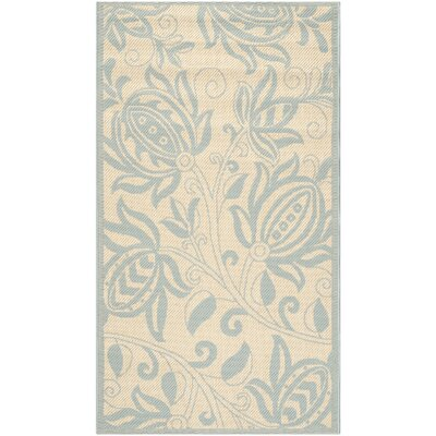 Marcella Cream/Aqua Outdoor Novelty Rug Rug Size: Rectangle 27 x 5