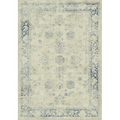 Malakoff  Cream/Blue Area Rug Rug Size: 53 x 76