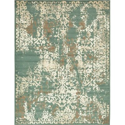 Forcalquier Green Area Rug Rug Size: 9 x 12