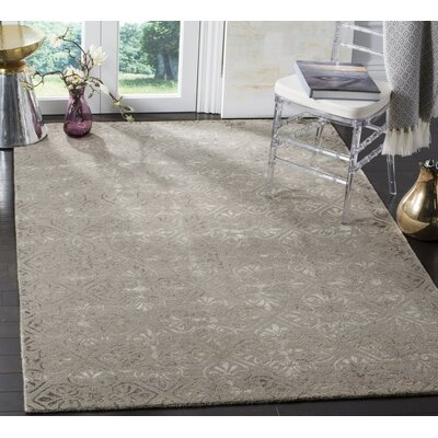 Edmeston Hand-Tufted Dark Beige Area Rug Rug Size: 5 x 8