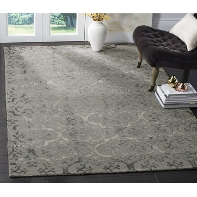 Edmeston Hand-Tufted Gray Area Rug Rug Size: Round 7