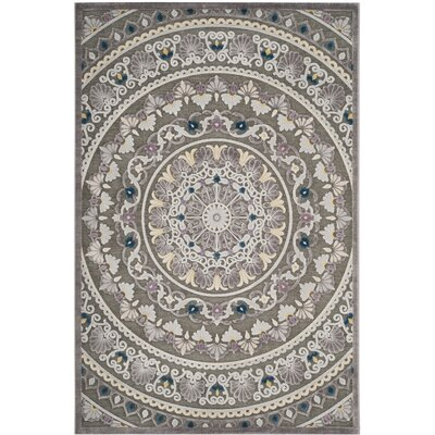 Boyer Gray/Beige Area Rug Rug Size: Square 7
