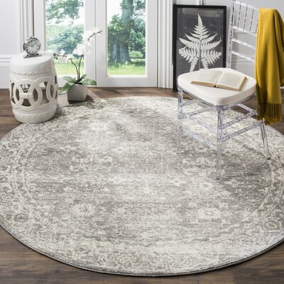 Montelimar Gray/Ivory Area Rug Rug Size: Round 67