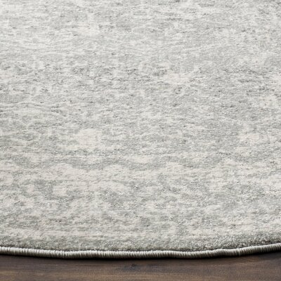 Montelimar Silver/Ivory Area Rug Rug Size: Round 3