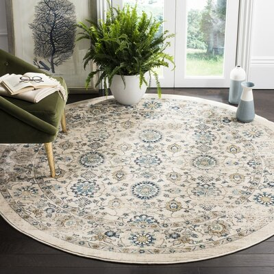 Montelimar Beige/Turquoise Area Rug Rug Size: Round 67 x 67