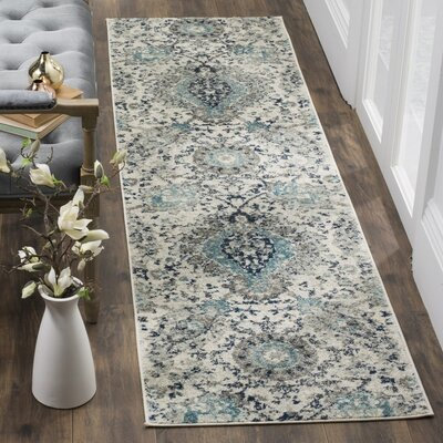 Grieve Cream/Light Gray Area Rug Rug Size: Runner 23 x 8