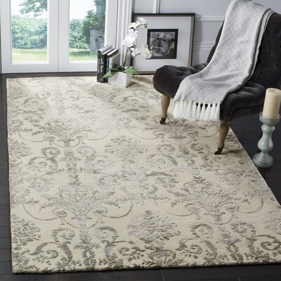 Dickinson Hand-Tufted Ivory/Gray Area Rug Rug Size: Rectangle 2 x 3