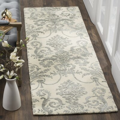 Dickinson Hand-Tufted Ivory/Gray Area Rug Rug Size: Runner 23 x 7
