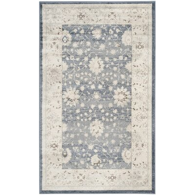 Valmer Dark Blue / Cream Area Rug Rug Size: 3' x 5'