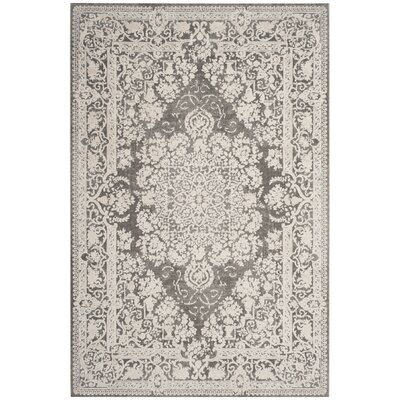 Pellot Dark Gray/Cream Area Rug Rug Size: Rectangle 8 x 10