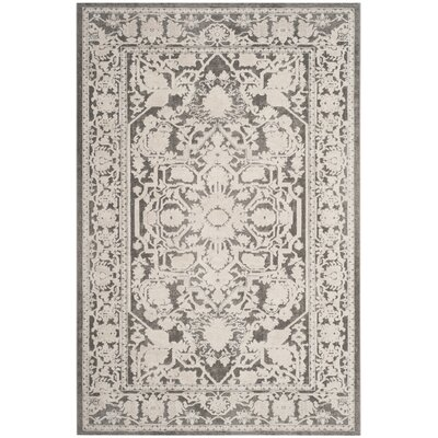 Pellot Dark Gray/Cream Area Rug Rug Size: Round 67