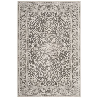 Pellot Dark Gray/Cream Area Rug Rug Size: Rectangle 6 x 9
