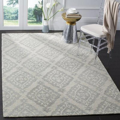 Peltz Hand-Tufted Gray Area Rug Rug Size: Rectangle 26 x 4