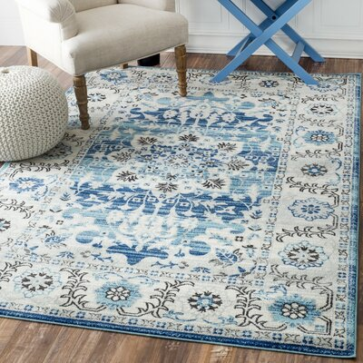 Ashcraft Blue Area Rug Rug Size: Rectangle 4 x 6
