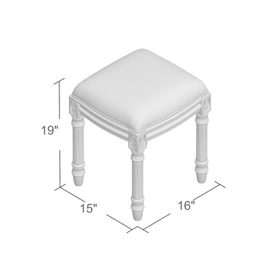 Clematite Coral Crown Linen Upholstered Vanity Stool Color: Aqua, Finish: Antique White