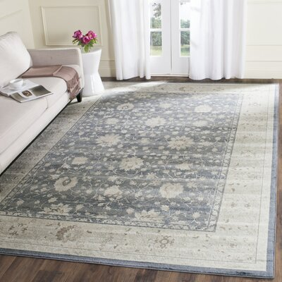 Valmer Dark Blue / Cream Area Rug Rug Size: 33 x 53