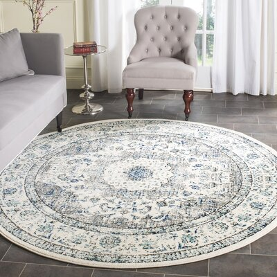Gray/Ivory Area Rug Rug Size: Round 67