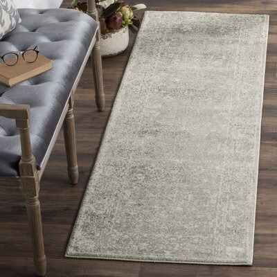 Montelimar Silver/Ivory Area Rug Rug Size: Runner 22 x 11