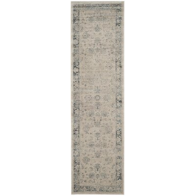 Malakoff  Cream/Blue Area Rug Rug Size: Runner 22 x 8