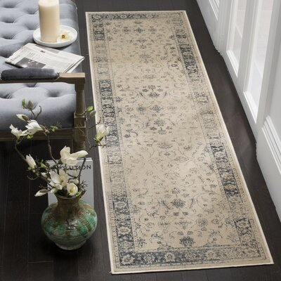 Malakoff Stone/Blue Area Rug Rug Size: Runner 22 x 8