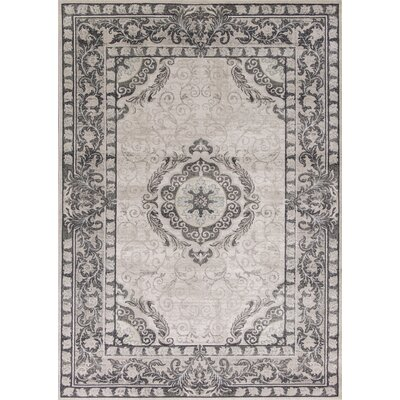 Amabilia Gray/Ivory Area Rug Rug Size: Rectangle 53 x 77