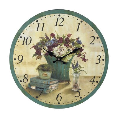 "Ralls 13"" Round Wood Bouquet Wall Clock AGGR6151 39823831"