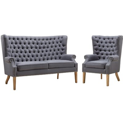 Adger 2 Piece Living Room Set Upholstery: Gray